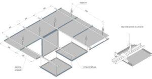Кассетный потолок со скрытой подвесной системой