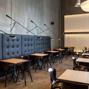 Мягкая стеновая панель в кафе