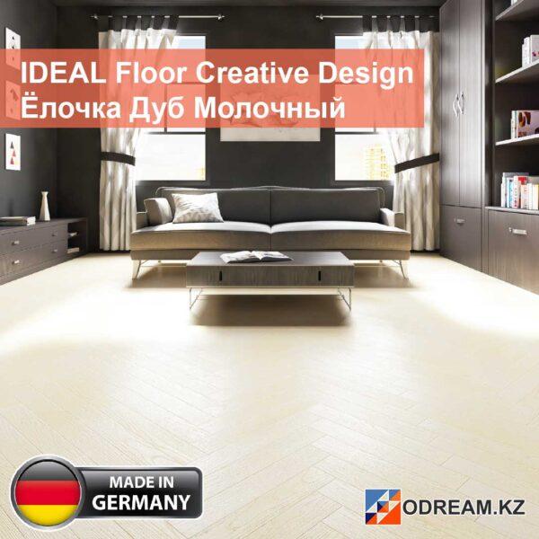IDEAL Floor Creative Design Ёлочка Дуб Молочный